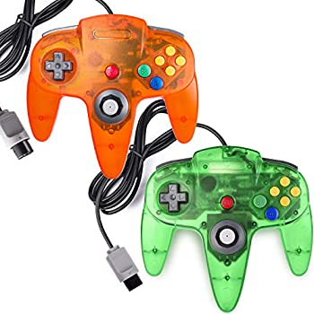 miadore 2 Packs Classic 64 Wired Controller Joystick for N64 Video Game System N64 Console  Jungle Green and Orange