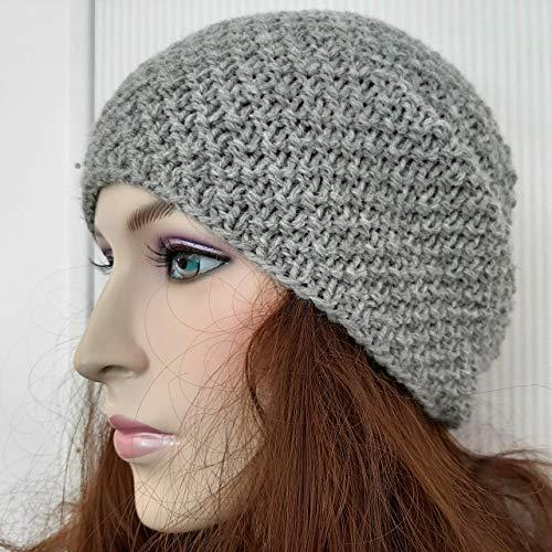 Mütze MyCozyCap Damen Wolle gestrickt handgestrickt unisex hand knitted Cap winter Hat grau dunkel