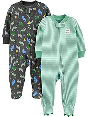 Simple Joys by Carter's Boys' 2-Pack Cotton Footed Sleep and Play, Dinosaur Print, 3-6 Months