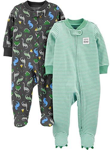 Simple Joys by Carter's 2-Pack Cotton Footed Sleep and Play para bebés y niños pequeños, Estampado de Dinosaurio, 0-3 Meses, Pack de 2