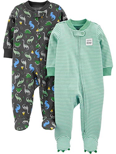 Simple Joys by Carter's Boys' 2-Pack Cotton Footed Sleep and Play, Dinosaur Print, 0-3 Months