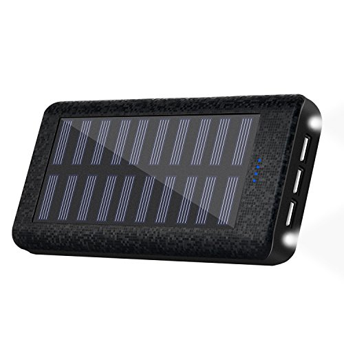 HuaF Solar Charger 24000mah Portable Charger Power Bank 3 USB Ports(1A+2A+2A) Backup Battery for iPhone iPad Samsung HTC Cellphones Tablet and More