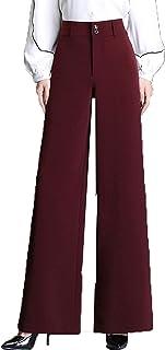 بناطيل عادية للنساء من YKK، سراويل يومية سميكة واسعة الساق غير مرنة فضفاضة رقيقة (اللون: أحمر، المقاس: 32)