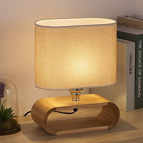 Lámpara de mesilla Lámpara de escritorio pequeña de madera con base ovalada y pantalla de tela para dormitorio, sala de estar
