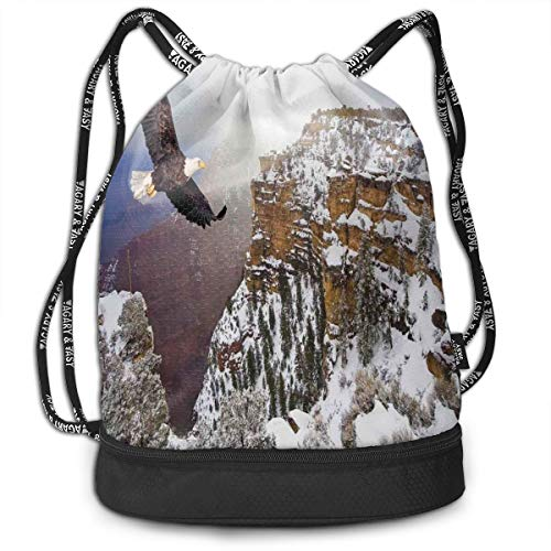 Printed Drawstring Backpacks Bags,Aerial View of Bald Eagle Flying In Snowy Grand Canyon Rocky Arizona USA,Adjustable String Closure