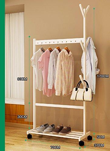 QX Coat racks IAIZI Witte ophanger-bodem-mantel-hoed-frame-slaapkamer-vaste houten ophang-Moderne onbelangrijke mobiele stel-verzameling-eenvoudige kledingstang (grootte: 70CM)