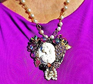 Vintage Hand Carved Large Bacchante Conch Shell Cameo Heart Necklace,
