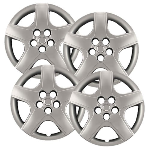 "Hubcaps.com - Premium Quality 16"" Silver Hubcaps/Wheel Covers fits 2003-2008 Toyota Matrix, Heavy Duty Construction (Set of 4)"