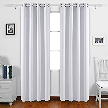 Deconovo Greyish White Blackout Curtains 95 Inch Length Grommet Thermal Insulated Drapes and Curtains for Living Room 2 Panels 52x95 Inch