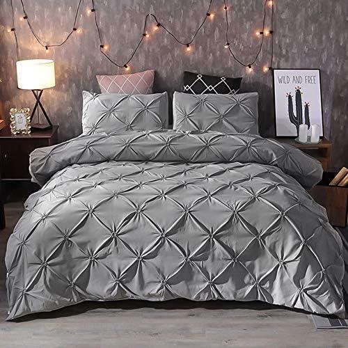 Lekesky Queen Comforter Set Pinch Pleat Comforter for Queen Bed 90x90 Inches 3 Pieces Down Alternative product image