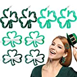 8 Pieces/4 Pairs St Patrick's Day Shamrock Hoop Earrings and Hairpins Green Acrylic Resin Shamrock Hairpins Irish Good Luck Earrings Hair Clips for Women Girls
