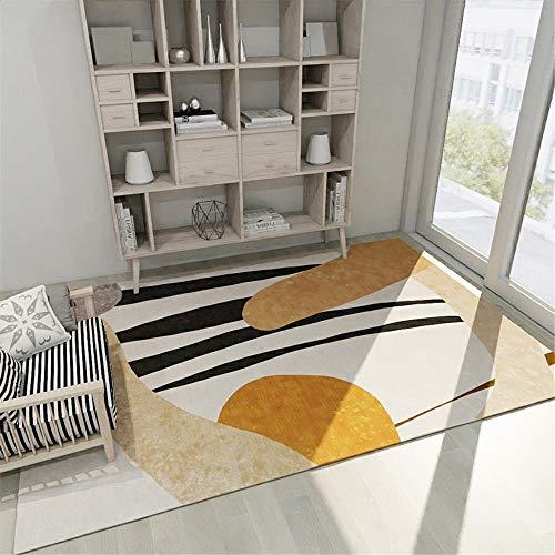 alfombras para Habitaciones Juveniles No se desvanezca el diseño geométrico de Color Amarillo Amarillo Negro fácil de la Alfombra Antideslizante para alfombras dormitorios Juveniles 50*120CM