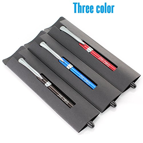 JW.ORG Metal Clip Top Ball Point Black Ink Fine Tip Executive Pen with Insert Cover for Gifting Color Assortment Red, Blue, & Black, Set of 12