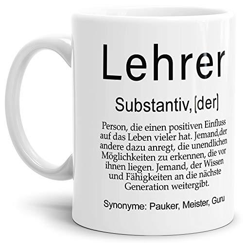 Tassendruck Tasse mit Definition Lehrer - Wörterbuch/Geschenk-Idee/Dictionary/Beruf/Job/Arbeit/Weiss