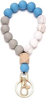 Silicone Beaded Bracelet Keychain Wristlet, Bead Key Ring Bangle Chains Bracelet for Women