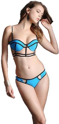 Maillot de bain Trois Points for Femmes Triangle Bikini Soucravaten-Gorge Sexy en Acier à lanière en Acier Inoxydable et américain Petits Seins concentrés Spa Noir et Bleu (Couleur   B, Taille   XXL)