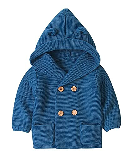 OdilMacy Toddler Baby Boys' Girls' Sweater Long Sleeve Button Front Hooded Knit Cardigan Sweaters Navy Blue