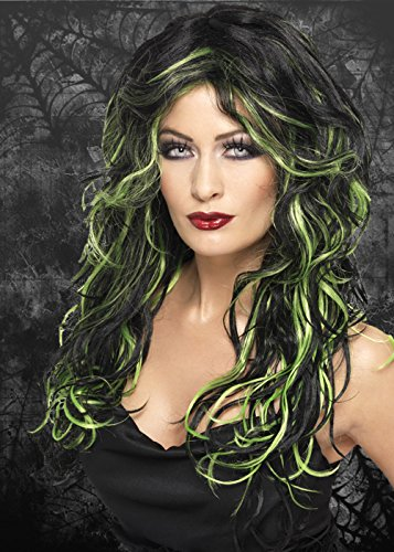 Womens Halloween Curly Black and Green Gothic Bride Wig