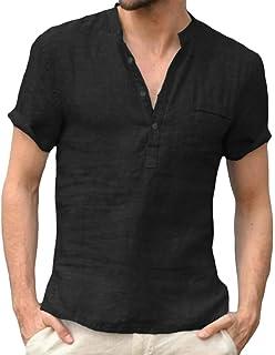 Macondoo Men's Thin Top Casual Linen V-Neck Short Sleeve Breathable T-Shirts