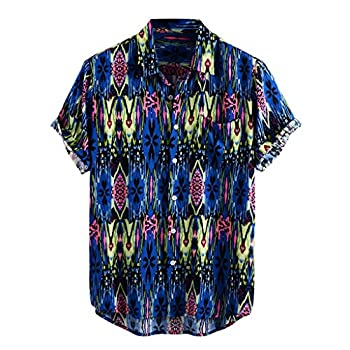 ZSBAYU Funky Hawaiian Shirt   Men Shirts   Short-Sleeve Floral   Button Lapel   Multiple Colours   Hawaiian Print Tops