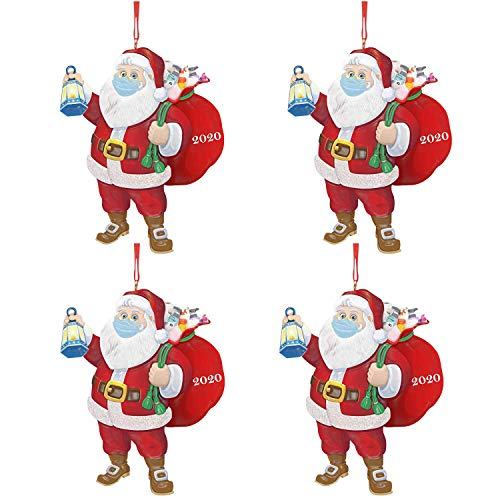 IQUARK Christmas Ornaments 2020, Santa Wearing A Face Mask and Carrying a Gift Bag, Christmas Tree Decorations Hanging Pendant Decor Xmas Creative Gift (4pc-d)
