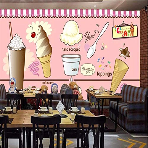 muurschildering muur muurschildering crème ijs koffie winkel thee winkel restaurant achtergrond decoratieve muur professionele productie behang muur About 150*105cm 2 stripes