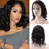 Perruque Femme Naturelle Brésilien 100% Cheveux Humains Remy Ondulé - Lace Front Frontal Wig Naturel Human Hair (Densité: 130%, Longueur: 10'/25cm)