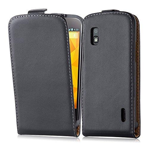 Cadorabo LG Nexus 4 Funda de Cuero Sintético Flip Liso en Negro DE Caviar – Cubierta Protectora Estilo Flip con Cierre Magnético y Apertura Vertical – Etui Case Cover Carcasa Protección Caja