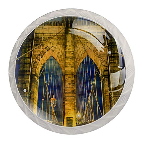 LXYDD Manijas para cajones Perillas para gabinetes Perillas Redondas Paquete de 4 para Armario, cajón, cómoda, cómoda, etc. Puente de Brooklyn en la Ciudad de Nueva York