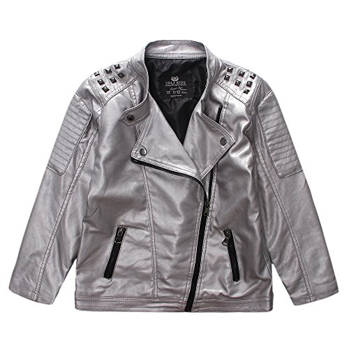 LJYH Boys Girls Faux Leather Jacket Rivet Metal Punk Jacket Silver