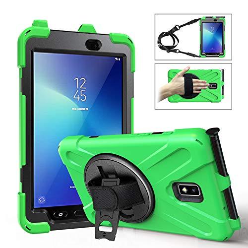 TH000 Samsung Galaxy Tab Active 2 Hülle SM-T395 T390 397 Verstellbarer Hand, Schulter Hals Gurt 8 Zoll Verstärkte Ecken Sturzfest, Standfunktion