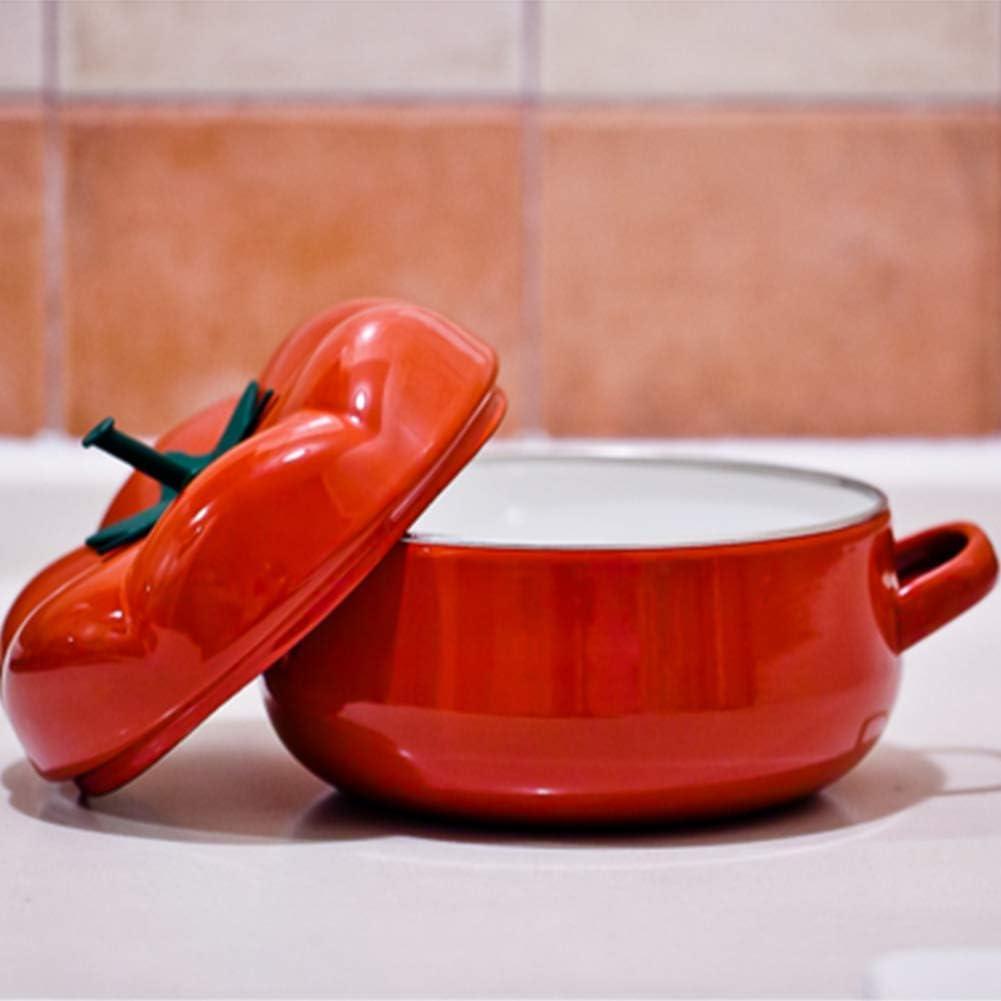 weiwei Cocotte,cocotte en Fonte Tomate/Citrouille,cocotte à Induction Ovale en Pot de Lait avec revêtement en émail résistant,pour Toutes Les Sources de Chaleur-1 1