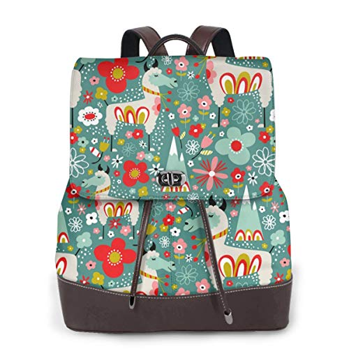 Womens Travel Backpack Lovely Llamas Casual Shoulder Bags Purse