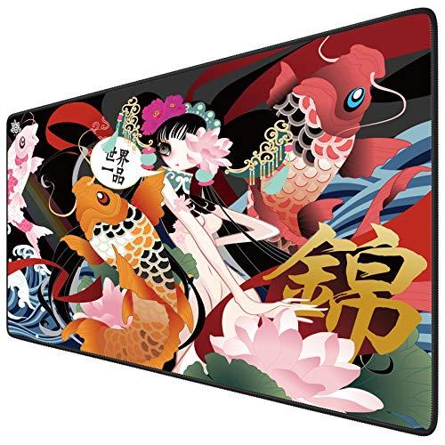 Alfombrilla de ratón para videojuegos, tamaño grande, 900 x 400 x 3 mm, XXL, bordes cosidos, mejora la precisión y la velocidad del ratón para PUBG Cyberpunk 2077 (Lucky Fish)