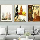 DHLHL Arte de la Pared República Checa Praga Praha Pinturas en Lienzo de Viaje Imágenes Vintage Carteles Pegatinas de Pared Decoración del hogar Regalo 50x70cmx3pcs Sin Marco