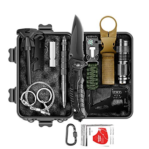 Survival Kit 12 in 1, Survival Gear and Equipment, Hiking Gear, Tactical kit Cool Tools Birthday Gifts for Men Husband Dad Teen Boy, Hunting, Camping, Climbing