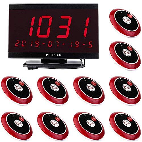 Retekess TD105 Sistema Inalámbrico de Llamadas Sistema de Radiodifusión de Voz Sistema de Buscapersonas 10 Botones de Llamada y Receptor de Pantalla 1PC