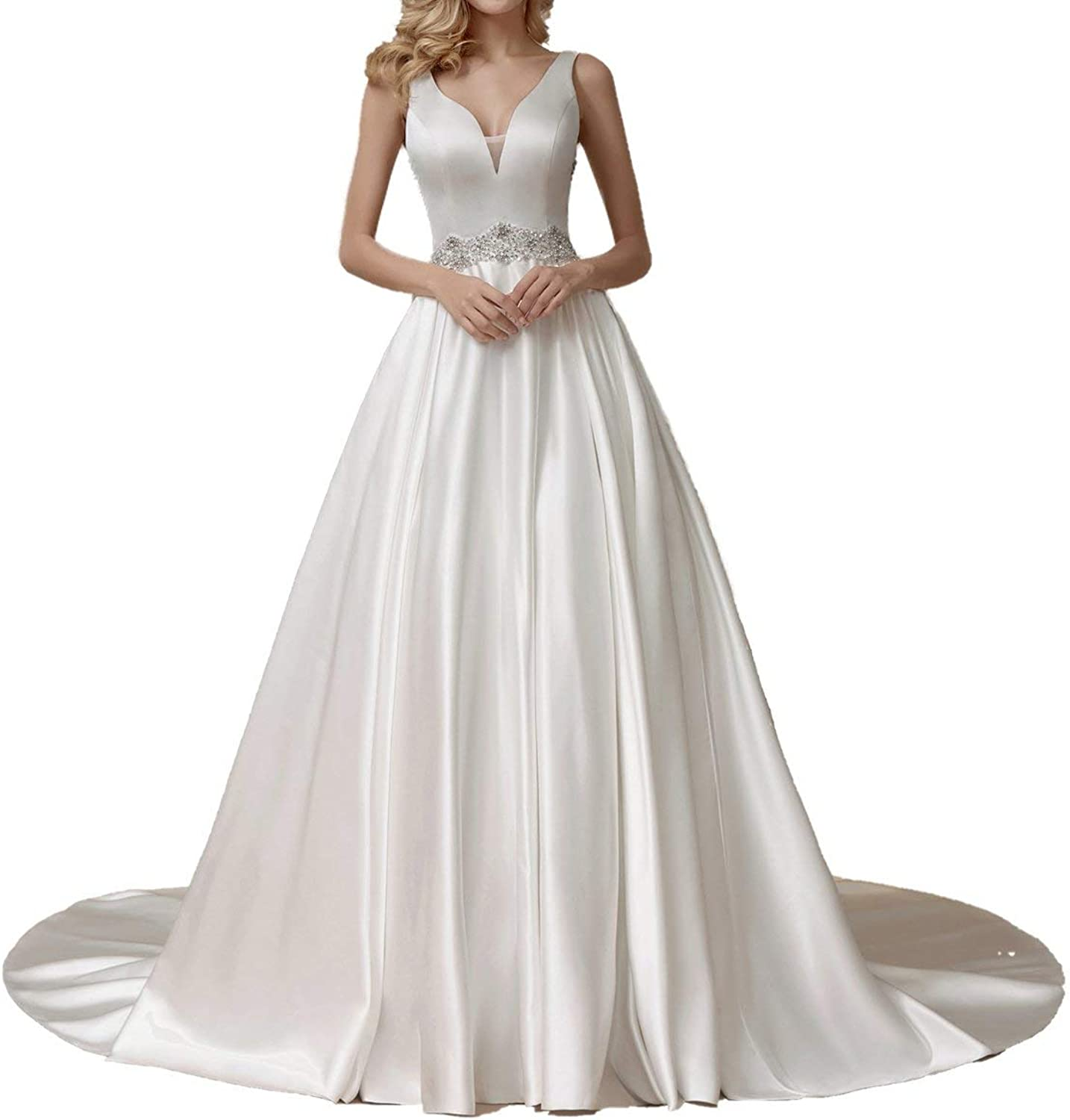 ICCELY Women's Ball Gown VNeck Rhinestone Sweep Brush Train Wedding Dresses for Bride