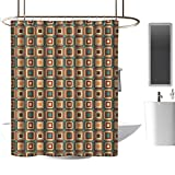 <span class='highlight'><span class='highlight'>TimBeve</span></span> Polyester Fabric Shower Curtain Modern,Geometrical Pattern with Rounded Nested Squares Nostalgic Colorful Tiling Print, Multicolor,European Style Decoration Bathroom Curtains 70