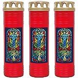 HScandle Grabkerze - 3er Pack - (Rot) Grablicht ca. 7 Tage Brenndauer je Kerze - Motiv: Fenster Blau