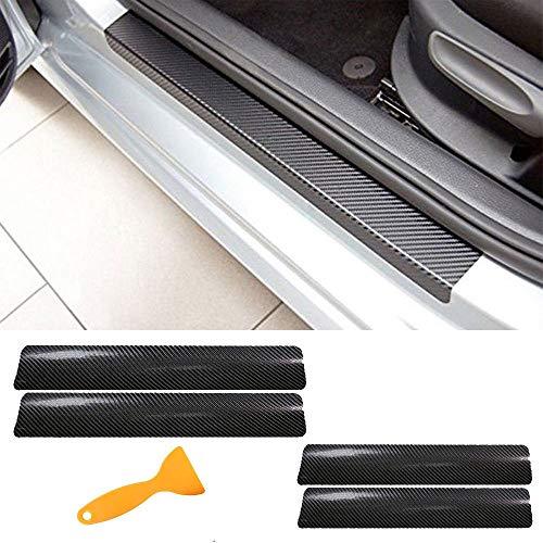 Pegatinas de Umbral de Puerta de Coche, 4 piezas 3D Fibra de Carbono Umbral de Pedal de Fibra Rasguño Resistente a Los Arañazos Etiqueta de Protección para Alféizar de la Puerta del Automóvil