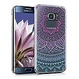kwmobile Funda Compatible con Samsung Galaxy S6 Edge - Carcasa para móvil - Protector Trasero Sol hindú Azul/Rosa Fucsia/Transparente