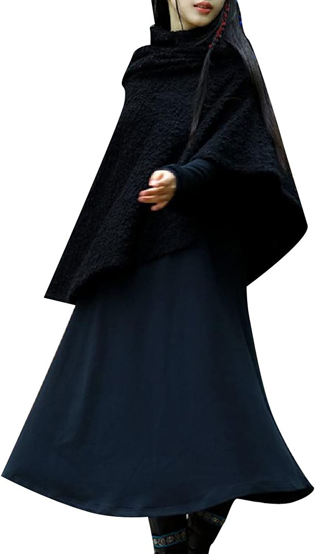 CoolredWomen Traditional Wollen LongSleeve Ruffle Dress Outfit
