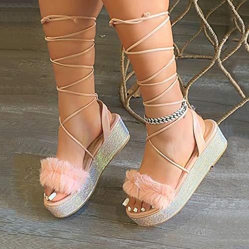 CTEJ Sandalias con Tiras de Gladiador para Mujer Romanos Separador De Dedos Zapatos Altos con Tiras Cruzadas Chancletas Remache De Bohemia Zapatos Mujer Sandalias Playa Casuales,Rosado,35