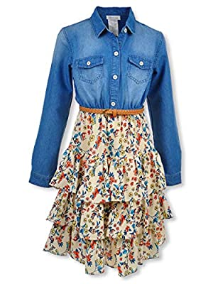 Bonnie Jean Denim Shirt Dress with Triple Tiered Skirt and Faux Leather Braided Belt 20.5P