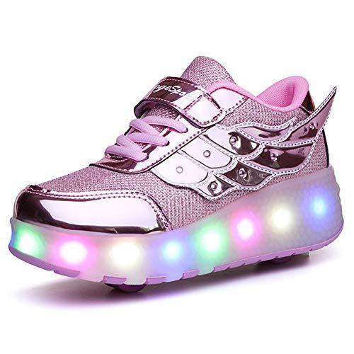 Unisex Niños LED Luces Zapatos Carga USB 7 Colores Iluminar