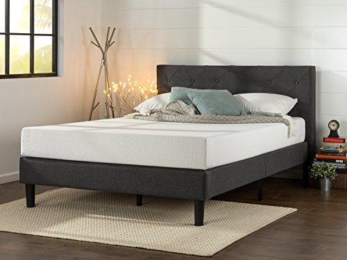 Zinus Shalini Upholstered Diamond Stitched Platform Bed / Mattress Foundation / Easy Assembly / Strong Wood Slat Support / Dark Grey, Full