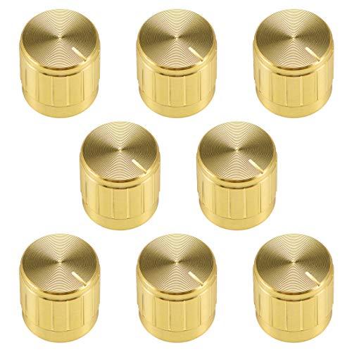 uxcell 8Pcs 17x 17mm Aluminium Alloy Potentiometer Volume Control Rotary Knob Knurled Shaft Hole Gold Tone,for 6mm Diameter Shaft Guitar Volume Knob.