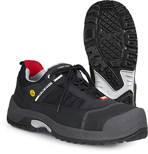 Jalas 3018 Zenit Ultralight Hi-Tech Scandinavian Style Safety Shoes - Steel Toe - Nail Protection (Numeric_7) Black, Red