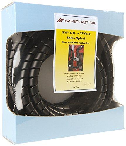 "Pre-Cut Spiral Wrap Hose Protector, 1.0"" OD, 25' Length, Black"